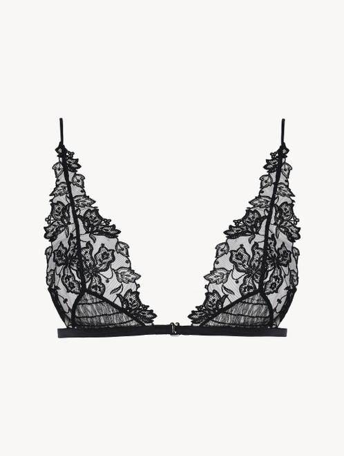 Triangle Bra in black embroidered tulle