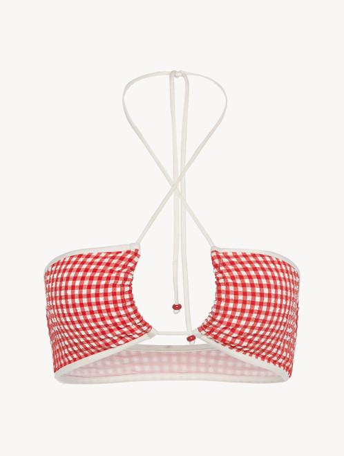 Bandeau Bikini top in red gingham seersucker