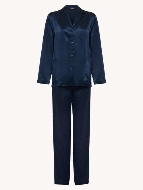 Pyjamas in navy blue silk