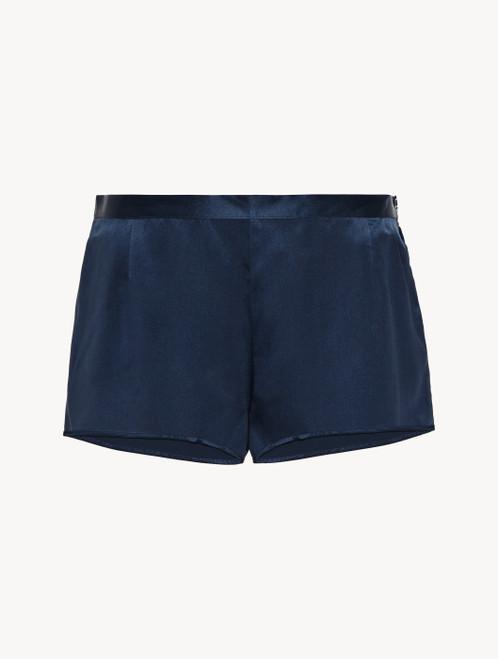 Shorts in navy blue silk