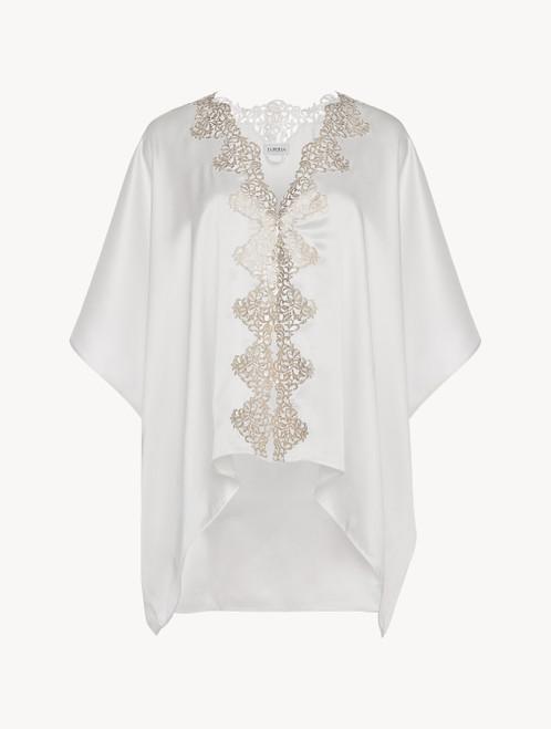 Off-white silk robe with gold macramé