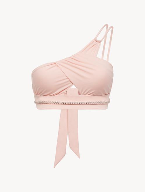 Asymmetric Bikini Top in rose pink