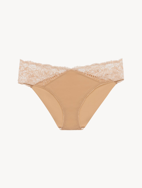 Medium Brief in beige Lycra with Leavers lace