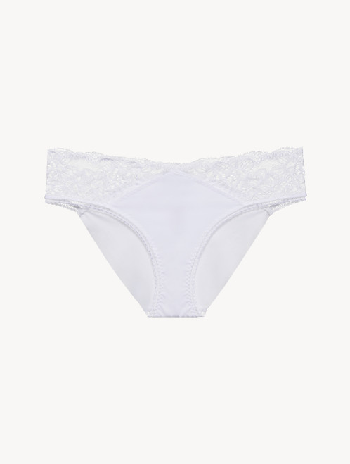 Medium Brief in white Lycra with Leavers lace