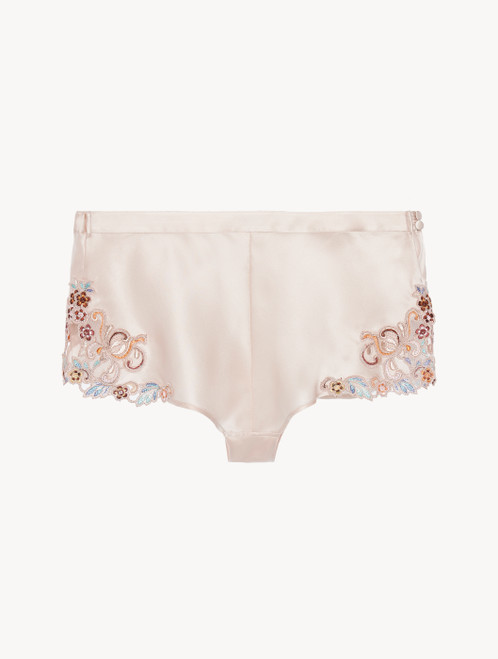Sleep shorts in blush pink silk with embroidered tulle