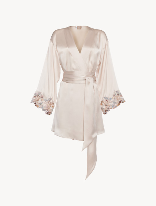 Short robe in blush pink silk with embroidered tulle