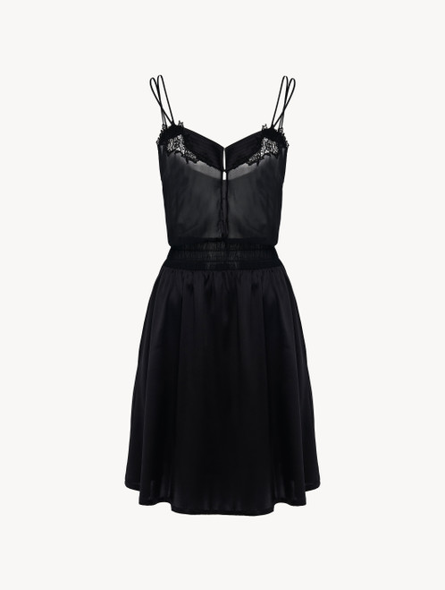 Nightgown in black silk satin and embroidered tulle