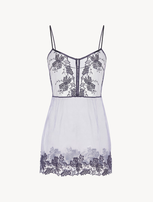 Slip Dress in violet embroidered tulle