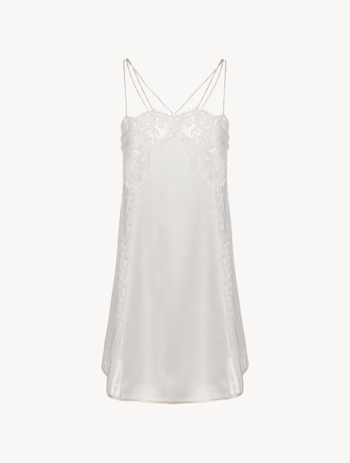 Slip Dress in off-white silk with Leavers lace