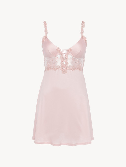 Slip Dress in pink modal with embroidered tulle