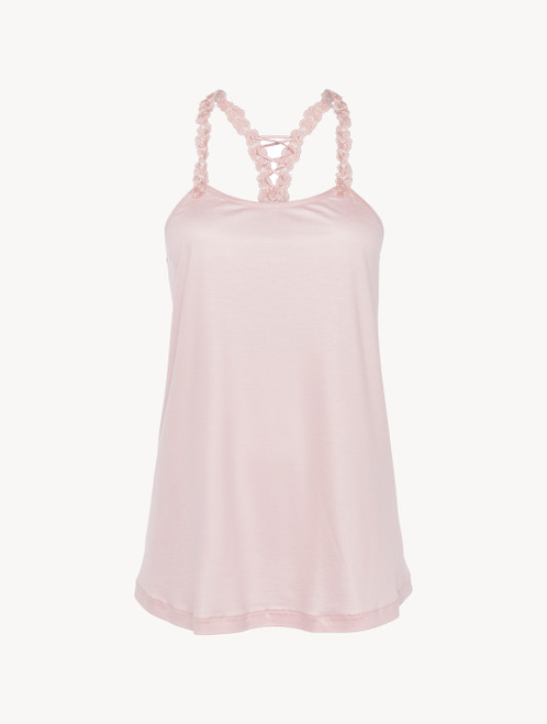 Camisole in pink modal with embroidered tulle