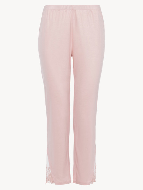 Trousers in pink modal with embroidered tulle