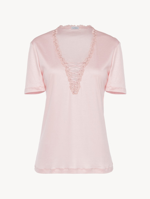 T-shirt in pink modal with embroidered tulle