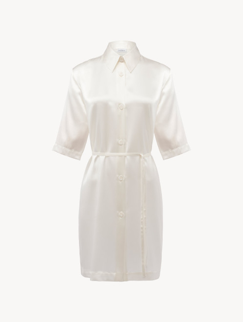 Silk long shirt in white