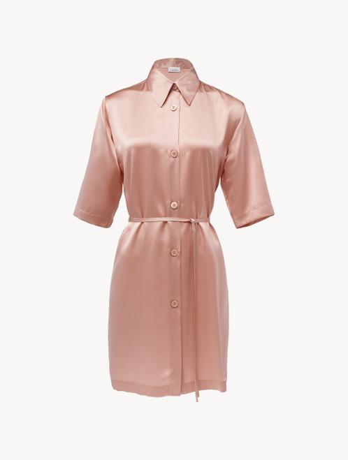 Silk long shirt in powder pink
