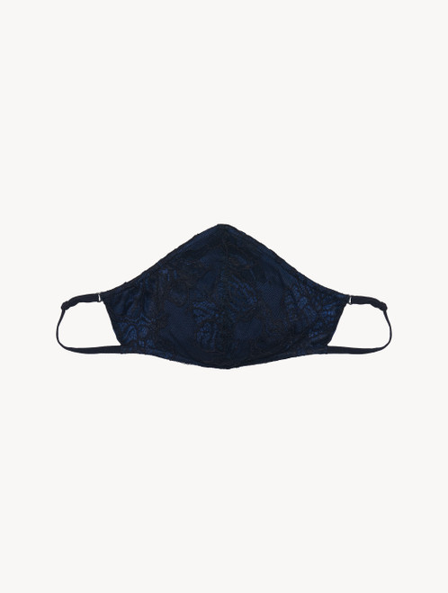 Face covering in black and blue Italian Jacquard lace