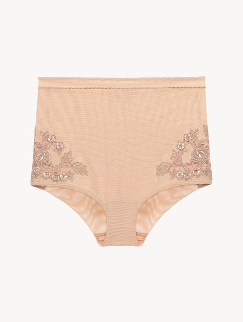 High-waisted Briefs in sand stretch tulle