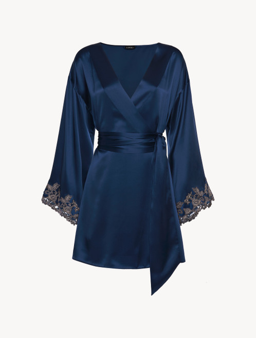 Blue silk satin short robe with frastaglio