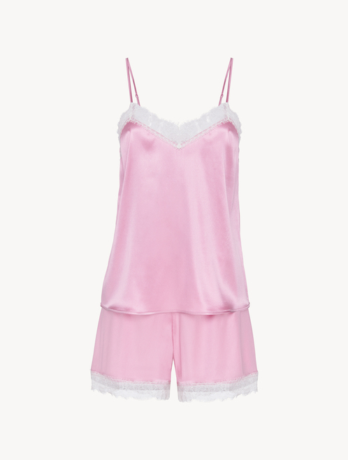 Short pyjamas in lilac silk stretch with lace