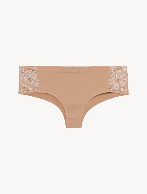 Nude cotton hipster briefs
