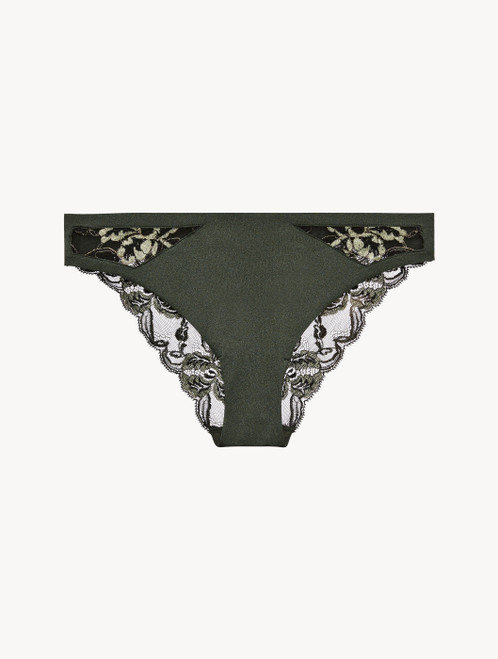 Medium brief in green Lycra and black Leavers lace