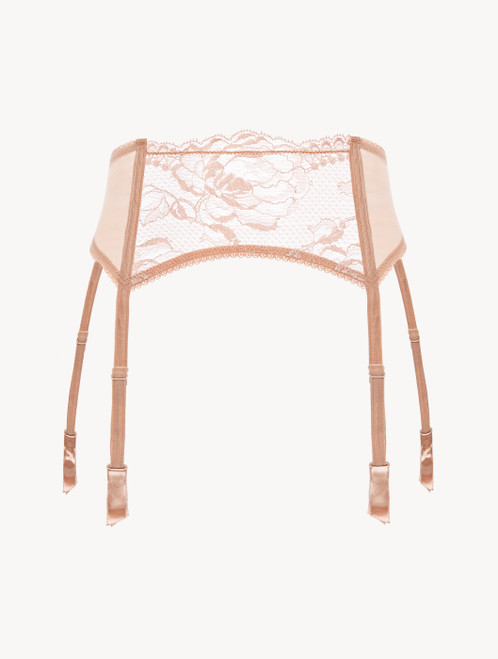 Powder pink lace suspender belt