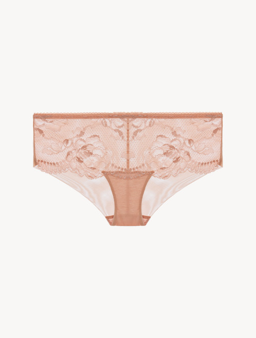 Powder pink lace boyshort brief