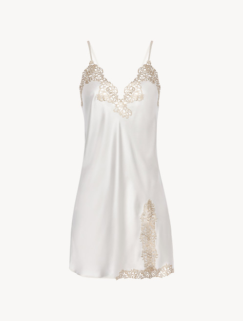 Off-white silk slip with gold macramé