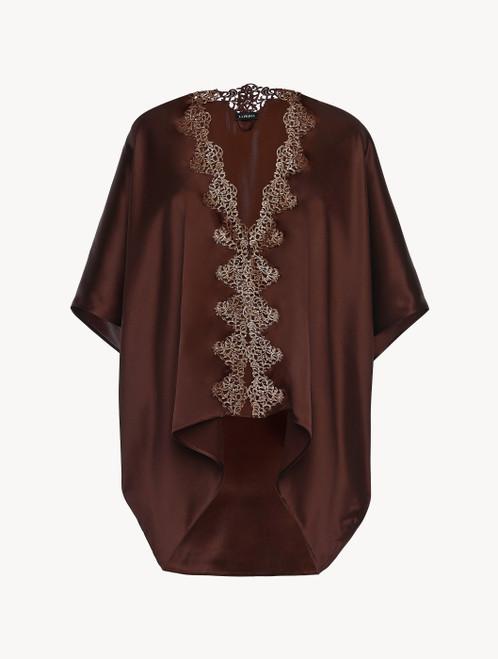 Brown silk robe with copper macramé