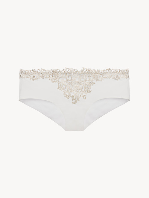 Off-white hipster briefs with metallic macramé