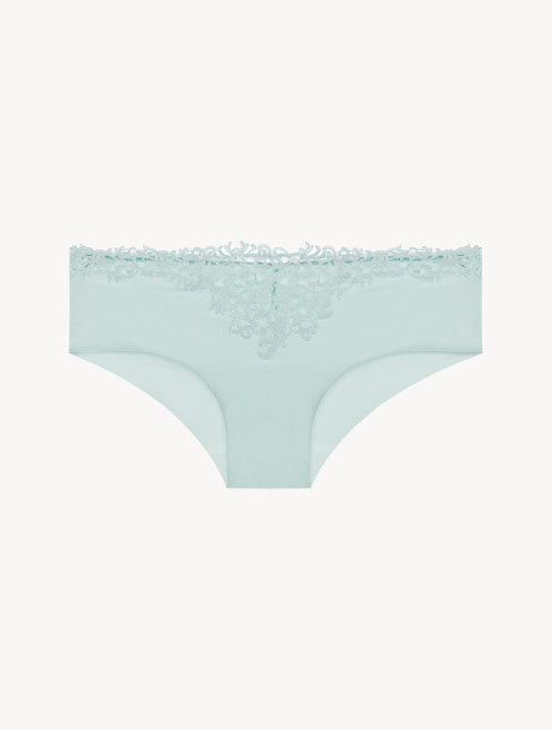 Mint green hipster briefs with macramé
