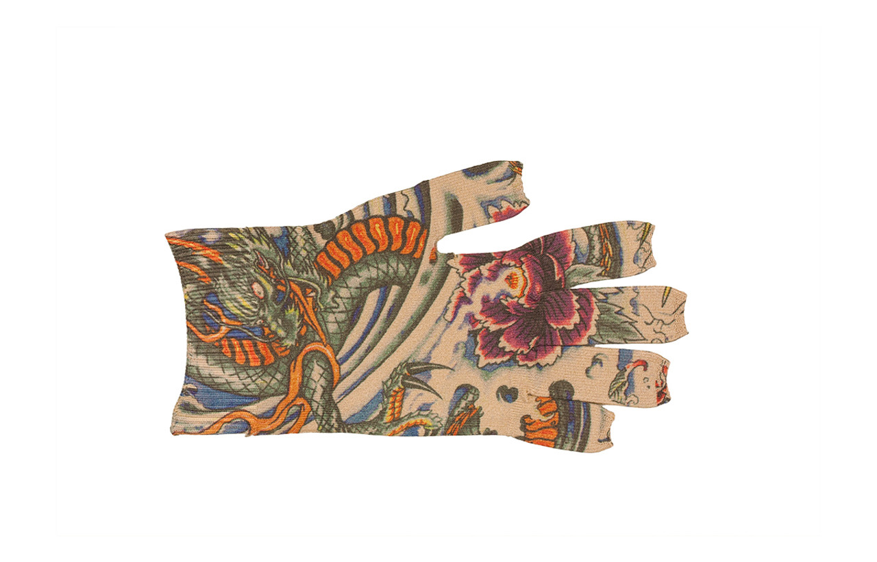 Lotus Dragon Tattoo Glove
