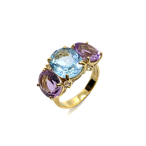 Triple Oval Blue Topaz and Amethyst Ring