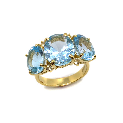 Triple Oval Blue Topaz Ring