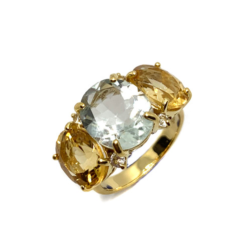 Triple Oval Green Amethyst and Citrine Ring