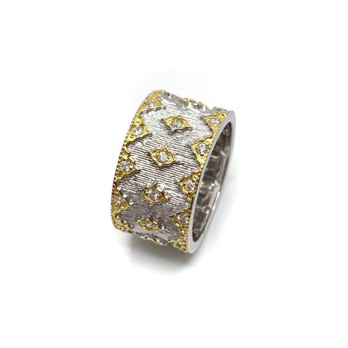 Diamond Pattern Two Tone Wide Band Ring