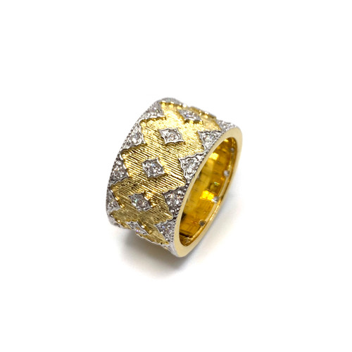 Diamond Pattern Vermeil Wide Band Ring