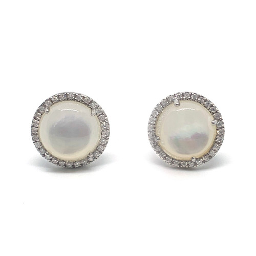 Round Cabochon Mother of Pearl Halo Stud Earrings