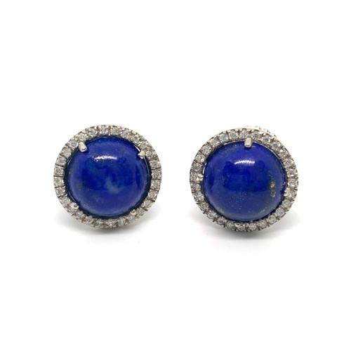 Round Cabochon Lapis Lazuli Halo Stud Earrings