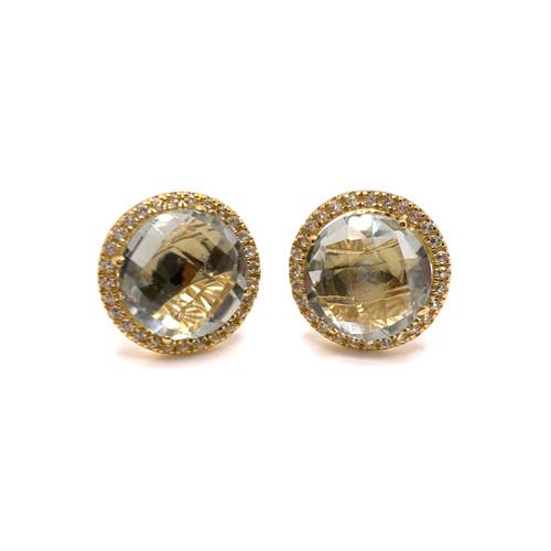 Round Prasiolite Halo Stud Earrings