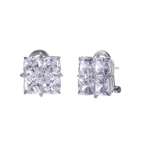 Quad Cushion-cut Faux Diamond Earrings