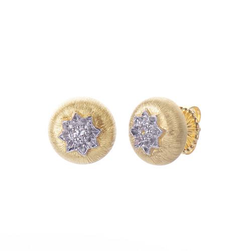 Engraved Flower Round Vermeil Stud Earrings