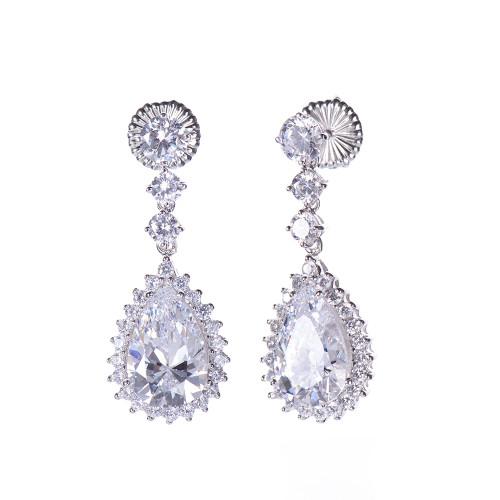 Pear-shape CZ Dangle Earrings