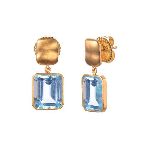 Octagon Blue Topaz Drop Earrings