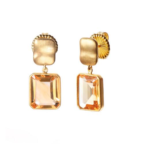 Octagon Citrine Drop Earrings