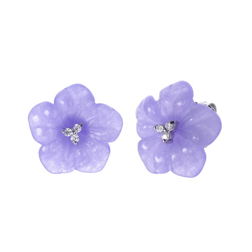 Carved Flower Lavender Jade Earrings
