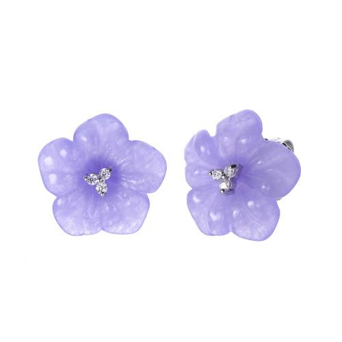 Carved Flower Lavender Jade Earrings