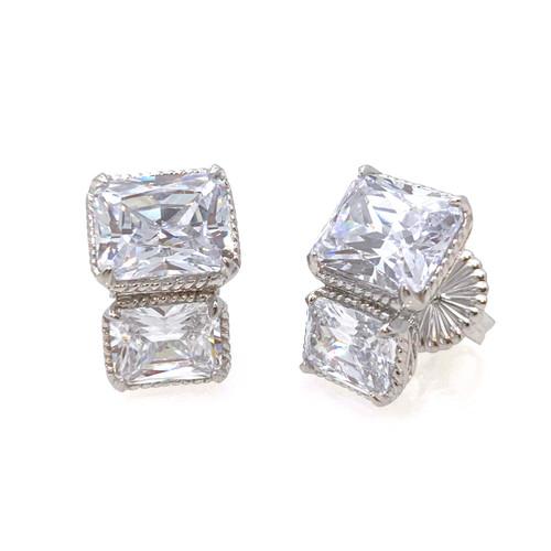 Double Octagon Button Earrings