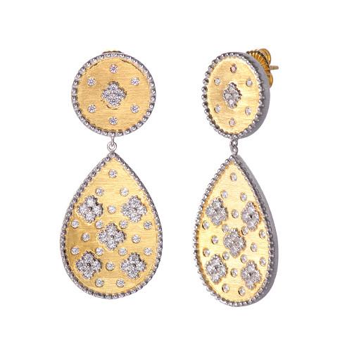 Clover-pattern Pear-shape Vermeil Drop Earrings