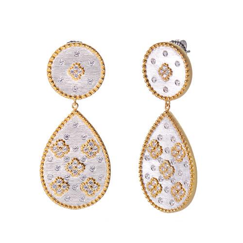 Clover-pattern Pear-shape Two-tone Drop Earrings